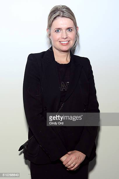 Designer Jenny Packham poses backstage at the Jenny Packham Fall 2016 fashion show during New York Fashion Week The Shows at The Gallery Skylight at...