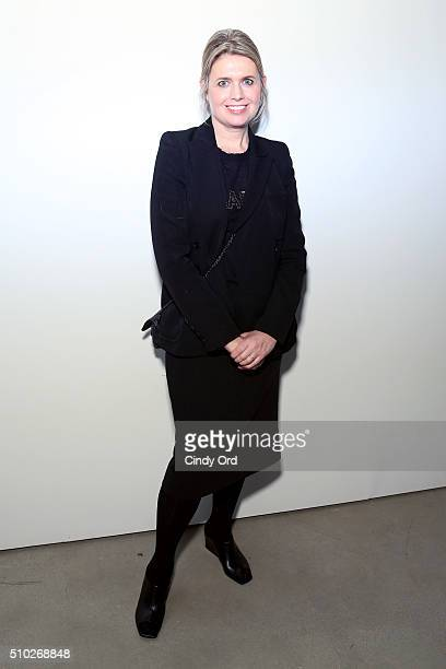 Designer Jenny Packham poses backstage at the Jenny Packham Fall 2016 fashion show during New York Fashion Week: The Shows at The Gallery, Skylight...