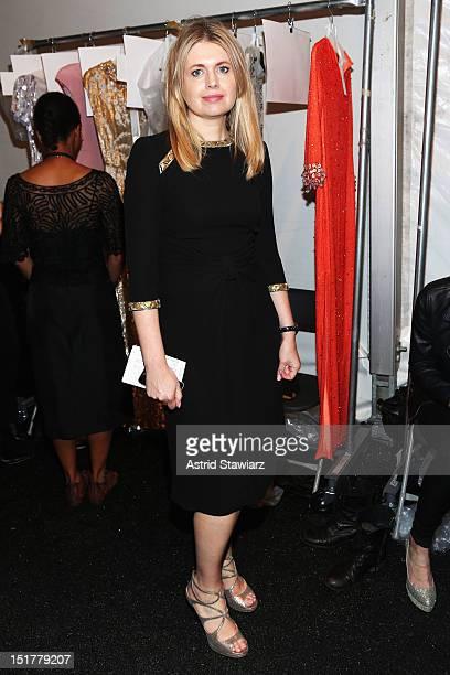 Designer Jenny Packham poses backstage at TRESemme at Jenny Packham Spring 2013 during Mercedes-Benz Fashion Week at The Studio at Lincoln Center on...
