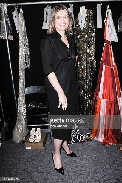 Designer Jenny Packham poses for a photo during the Jenny Packham fashion show during new York Fashion Week September 2016 at Skylight at Moynihan...