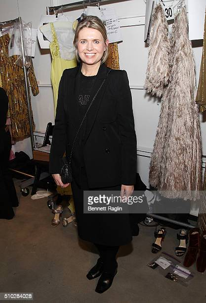 Designer Jenny Packham poses for a picture backstage at the Jenny Packham Fall 2016 New York Fashion Week The Shows at The Gallery Skylight at...