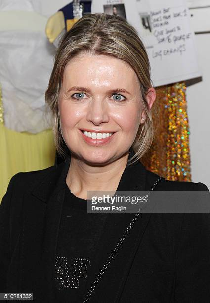 Designer Jenny Packham poses for a picture backstage at the Jenny Packham Fall 2016 New York Fashion Week: The Shows at The Gallery, Skylight at...