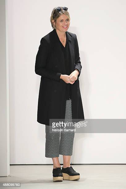 Designer Jenny Packham poses on the runway at her Spring 2016 show during New York Fashion Week The Shows at The Gallery Skylight at Clarkson Sq on...