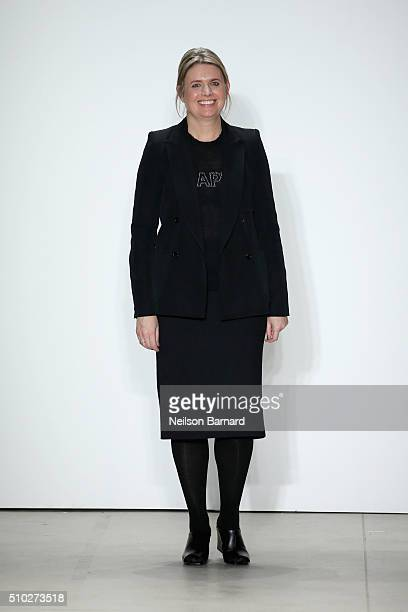 Designer, Jenny Packham, walks the runway at Jenny Packham Fall 2016 during New York Fashion Week: The Shows at The Gallery, Skylight at Clarkson Sq...