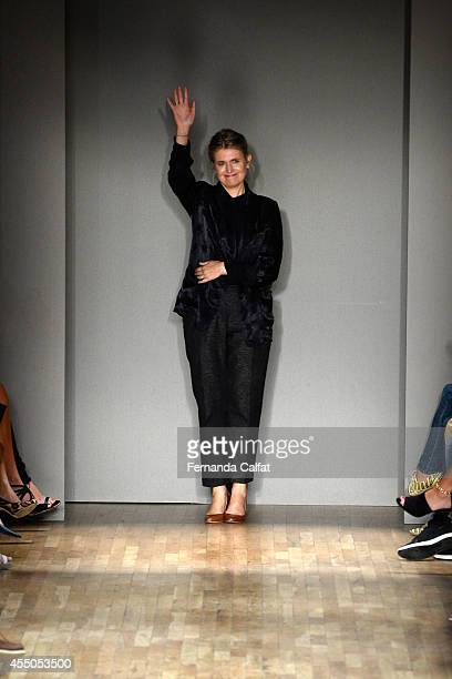 Designer Jenny Packham walks the runway at the Jenny Packham fashion show during Mercedes-Benz Fashion Week Spring 2015 on September 9, 2014 in New...