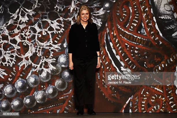 Designer Jenny Packham walks the runway at the Jenny Packham fashion show during MercedesBenz Fashion Week Fall 2015 at Industria Studios on February...