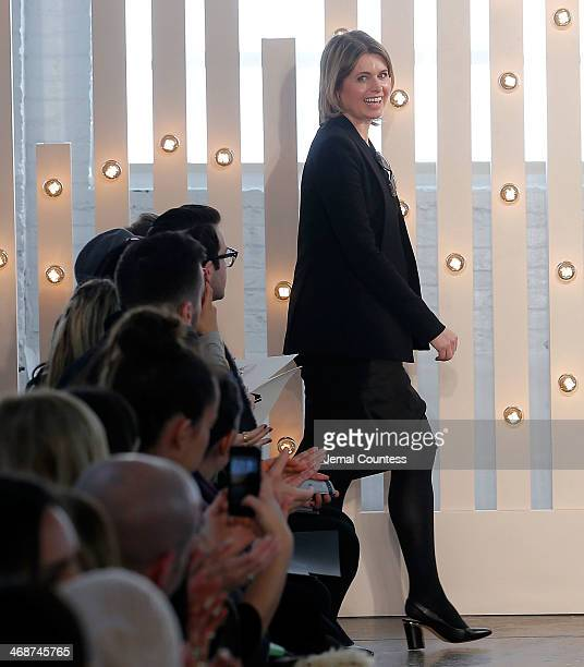 Designer Jenny Packham walks the runway at the Jenny Packham fashion show during Mercedes-Benz Fashion Week Fall 2014 on February 10, 2014 in New...