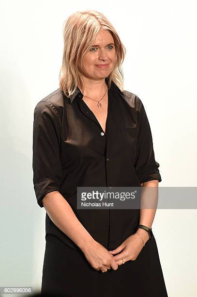 Designer Jenny Packham walks the runway at the Jenny Packham fashion show during New York Fashion Week The Shows at The Dock Skylight at Moynihan...