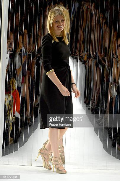 Designer Jenny Packham walks the runway for TREsemme at the Jenny Packham Runway Show during the Spring 2013 Mercedes-Benz Fashion Week at The Studio...