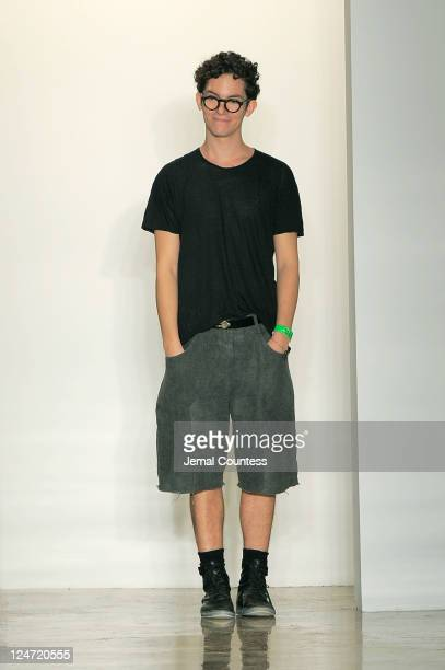 Designer Jeremy Laing walks the runway at the Jeremy Laing Spring 2012 fashion show during MercedesBenz Fashion Week at Milk Studios on September 11...