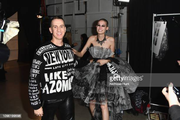 Designer Jeremy Scott and a model pose backstage for his fashion show during New York Fashion Week The Shows at Gallery I at Spring Studios on...