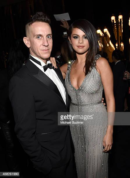 Designer Jeremy Scott and actress/singer Selena Gomez, wearing Gucci, attend the 2014 LACMA Art + Film Gala honoring Barbara Kruger and Quentin...