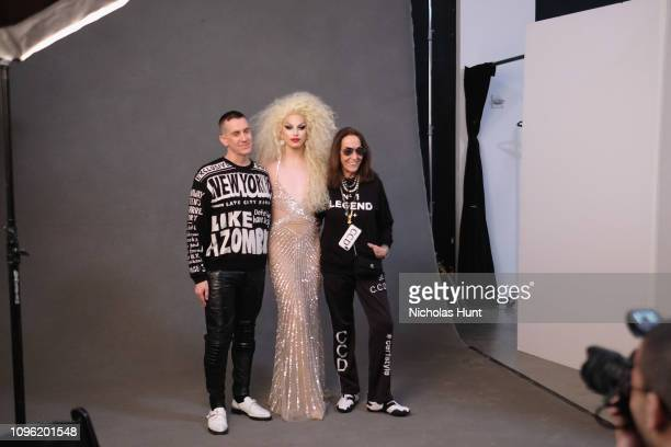 Designer Jeremy Scott and Aquaria pose backstage for the Jeremy Scott fashion show during New York Fashion Week The Shows at Gallery I at Spring...