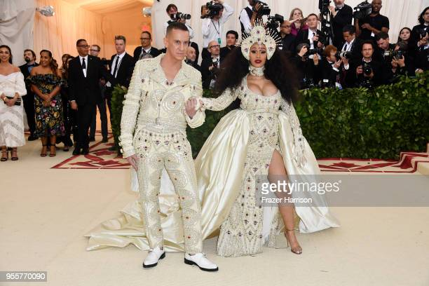 Designer Jeremy Scott and Cardi B attend the Heavenly Bodies Fashion The Catholic Imagination Costume Institute Gala at The Metropolitan Museum of...