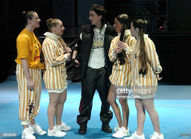 Designer Jeremy Scott and Cheerleaders models at the Jeremy Scott fashion show during Olympus Fashion Week at Bryant Park February 7 2004 in New York...