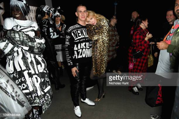 Designer Jeremy Scott and Courtney Love pose backstage for the Jeremy Scott fashion show during New York Fashion Week The Shows at Gallery I at...