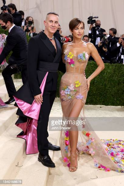 Designer Jeremy Scott and Irina Shayk attend The 2021 Met Gala Celebrating In America: A Lexicon Of Fashion at Metropolitan Museum of Art on...