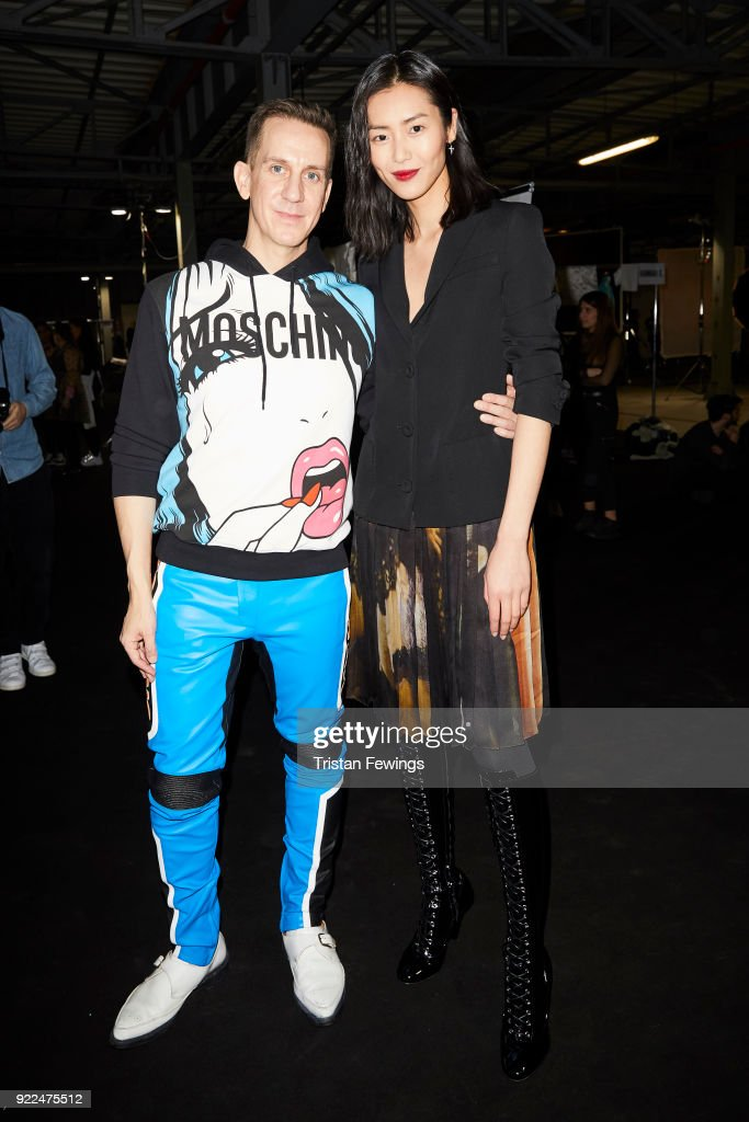 Designer Jeremy Scott and Liu Wen are seen backstage ahead of the Moschino show during Milan Fashion Week Fall/Winter 2018/19 on February 21, 2018 in Milan, Italy.