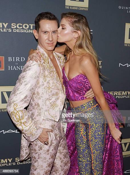 Designer Jeremy Scott and model Stella Maxwell attend the 'Jeremy Scott The People's Designer' New York premiere at The Paris Theatre on September 15...