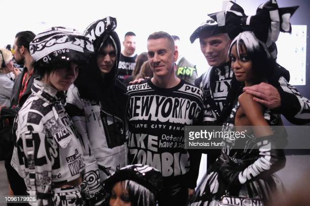 Designer Jeremy Scott and models pose backstage for his fashion show during New York Fashion Week The Shows at Gallery I at Spring Studios on...