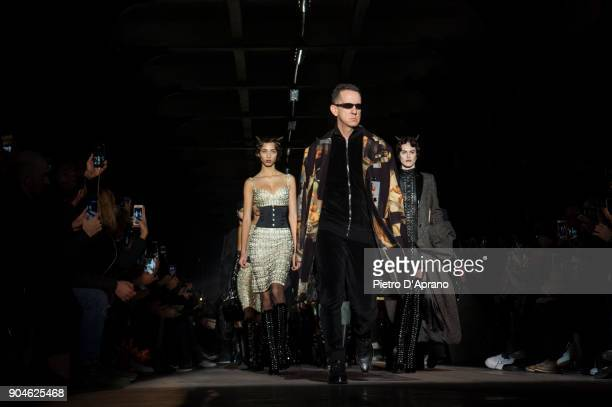 Designer Jeremy Scott and models walk the runway at the Moschino show during Milan Men's Fashion Week Fall/Winter 2018/19 on January 13 2018 in Milan...