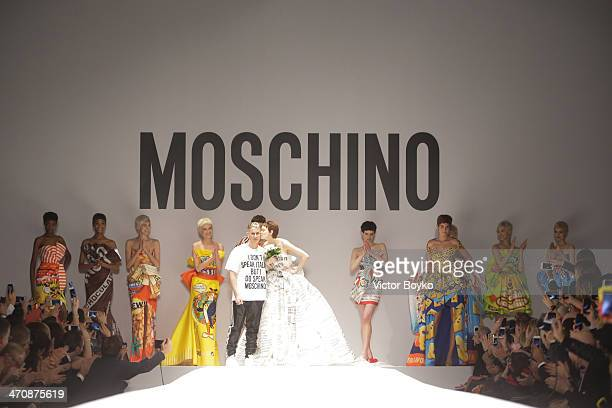 Designer Jeremy Scott and models walk the runway during Moschino show as part of Milan Fashion Week Womenswear Autumn/Winter 2014 on February 20,...