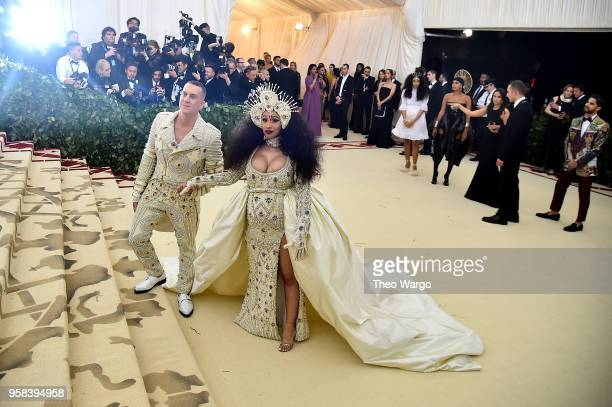 Designer Jeremy Scott and recording artist Cardi B attend the Heavenly Bodies Fashion The Catholic Imagination Costume Institute Gala at The...
