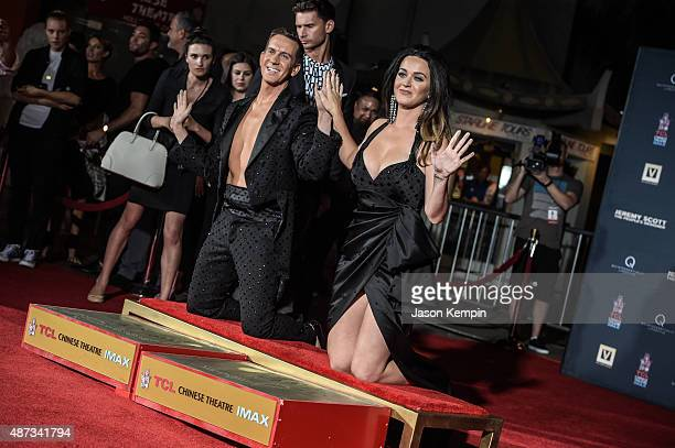 Designer Jeremy Scott and singer Katy Perry attend a hand print ceremony at ArcLight Cinemas on September 8, 2015 in Hollywood, California.