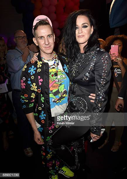 Designer Jeremy Scott and singer Katy Perry attend the Moschino Spring/Summer 17 Menswear and Women's Resort Collection during MADE LA at LA LIVE...