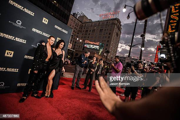 Designer Jeremy Scott and singer Katy Perry attend the premiere of 'Jeremy Scott The People's Designer' at ArcLight Cinemas on September 8 2015 in...
