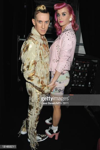 Designer Jeremy Scott and singer Katy Perry pose in the VIP Glamour area during the MTV Europe Music Awards 2011 at Odyssey Arena on November 6 2011...