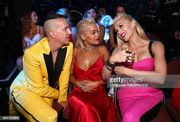 Designer Jeremy Scott and singers Rita Ora and Gwen Stefani attend the 2014 MTV Video Music Awards at The Forum on August 24 2014 in Inglewood...