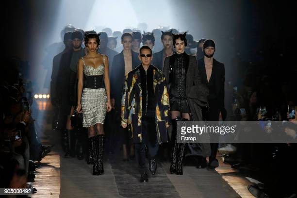 Designer Jeremy Scott at the runway at the Moschino show during Milan Men's Fashion Week Fall/Winter 2018/19 on January 13 2018 in Milan Italy
