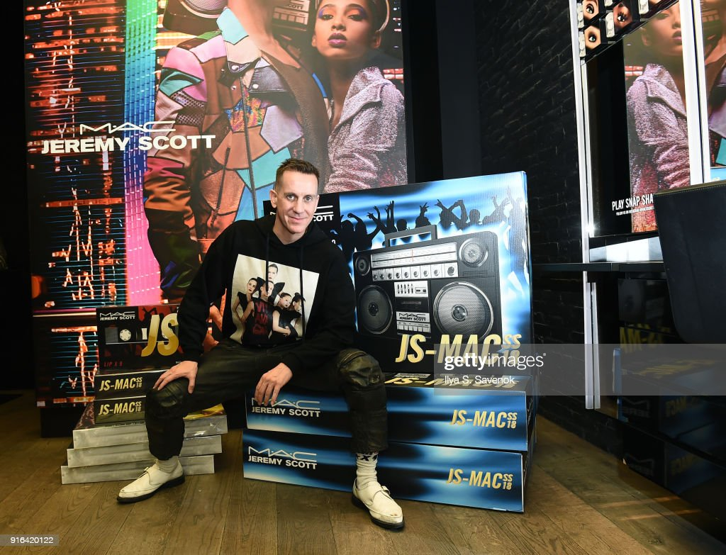 Designer Jeremy Scott attends MAC X Jeremy Scott Collaboration In Store Consumer Meet Up at MAC Soho on February 9, 2018 in New York City.