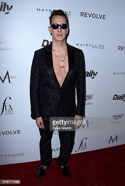 Designer Jeremy Scott attends the Daily Front Row 'Fashion Los Angeles Awards' at Sunset Tower Hotel on March 20 2016 in West Hollywood California