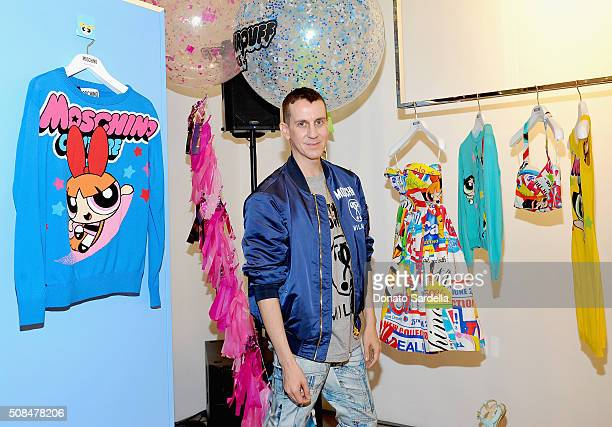 Designer Jeremy Scott attends The Powerpuff Girls x Moschino Launch Event at Moschino Store on February 4 2016 in West Hollywood California Moschino...