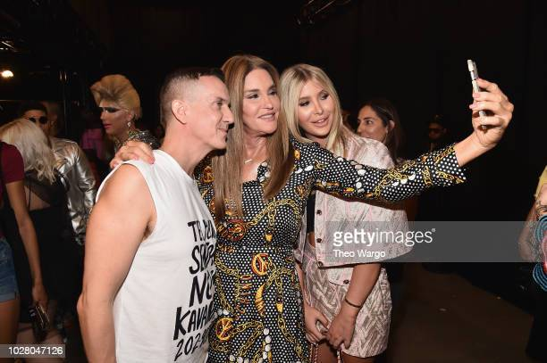 Designer Jeremy Scott Caitlyn Jenner and Sophia Hutchins take a selfie backstage at the Jeremy Scott show during New York Fashion Week The Shows at...