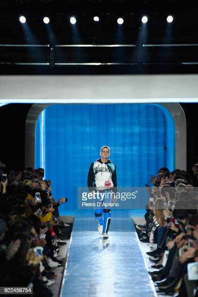 Designer Jeremy Scott on the runway of the Moschino show during Milan Fashion Week Fall/Winter 2018/19 on February 21 2018 in Milan Italy