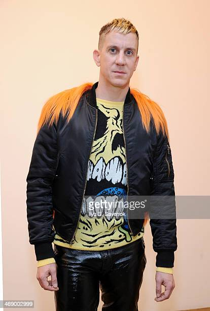 Designer Jeremy Scott poses at the Jeremy Scott fashion show during MADE Fashion Week Fall 2014 at Milk Studios on February 12 2014 in New York City