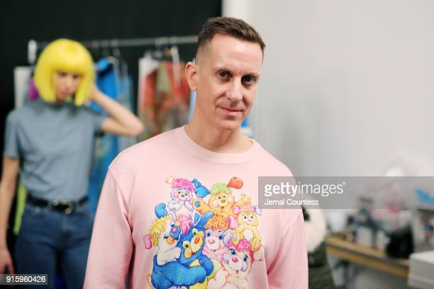 Designer Jeremy Scott poses backstage for Jeremy Scott during New York Fashion Week The Shows at Gallery I at Spring Studios on February 8 2018 in...
