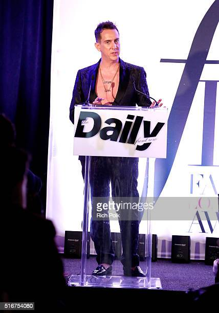 COVERAGE Designer Jeremy Scott speaks onstage during The Daily Front Row Fashion Los Angeles Awards 2016 at Sunset Tower Hotel on March 20 2016 in...