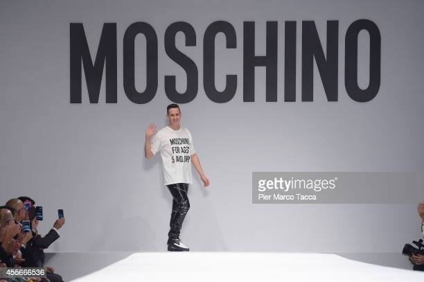 Designer Jeremy Scott walks the runway after the Moschino show as a part of Milan Fashion Week Womenswear Spring/Summer 2015 on September 18 2014 in...