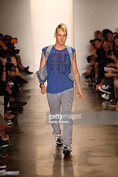 Designer Jeremy Scott walks the runway at the Jeremy Scott 2012 fashion show during MercedesBenz Fashion Week Spring 20122 at Milk Studios on...