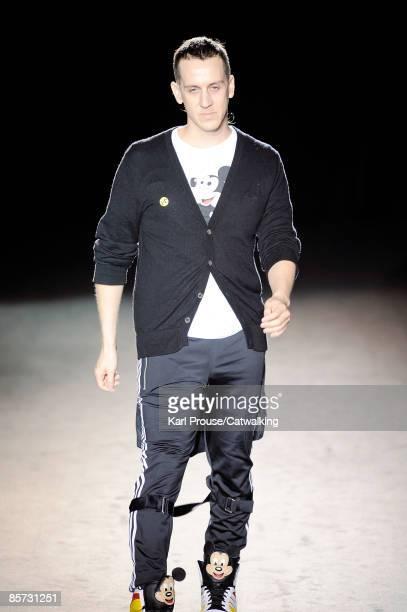Designer Jeremy Scott walks the runway at the Jeremy Scott Ready-to-Wear A/W 2009 fashion show during Paris Fashion Week at Faculte de Medecine on...