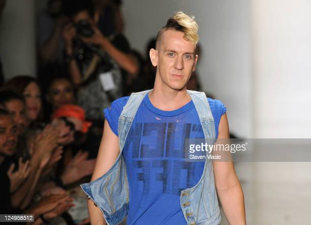 Designer Jeremy Scott walks the runway at the Jeremy Scott Spring 2012 fashion show during MercedesBenz Fashion Week at Milk Studios on September 14...