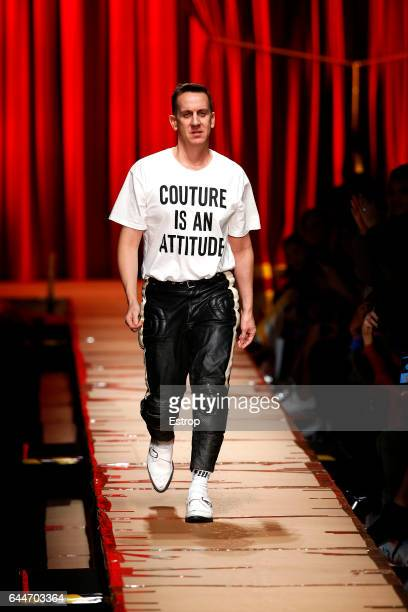 Designer Jeremy Scott walks the runway at the Moschino designed by Jeremy Scott show during Milan Fashion Week Fall/Winter 2017/18 on February 23...