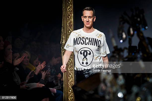 Designer Jeremy Scott walks the runway at the Moschino fashion show during Milan Fashion Week Fall/Winter 2016/17 on February 25 2016 in Milan Italy
