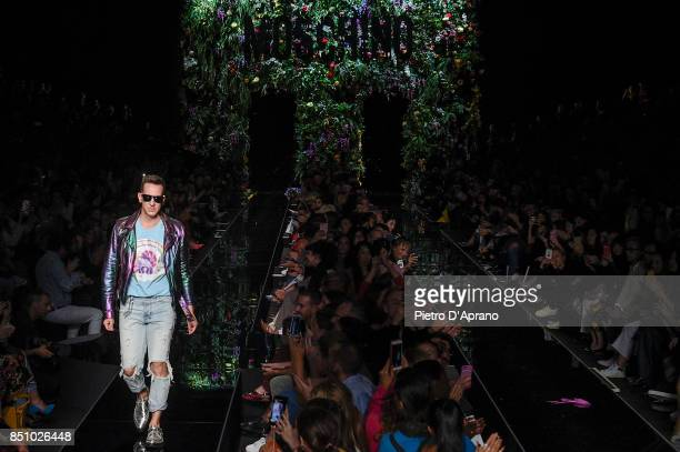 Designer Jeremy Scott walks the runway at the Moschino show during Milan Fashion Week Spring/Summer 2018 on September 21 2017 in Milan Italy