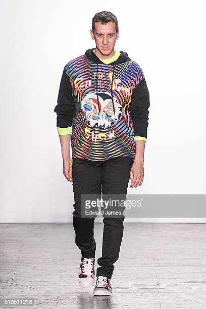 Designer Jeremy Scott walks the runway during the Jeremy Scott fashion show at The Arc Skylight at Moynihan Station on February 15 2016 in New York...