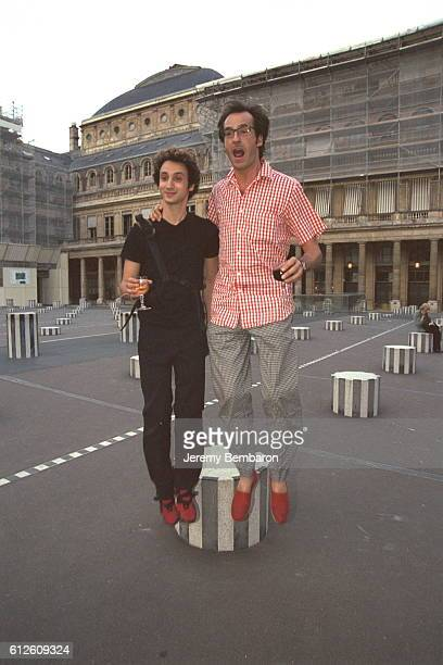 Designer Jerome Dreyfuss with Emmanuel de Brantes in front of the Buren columns in the courtyard of the Palais Royal